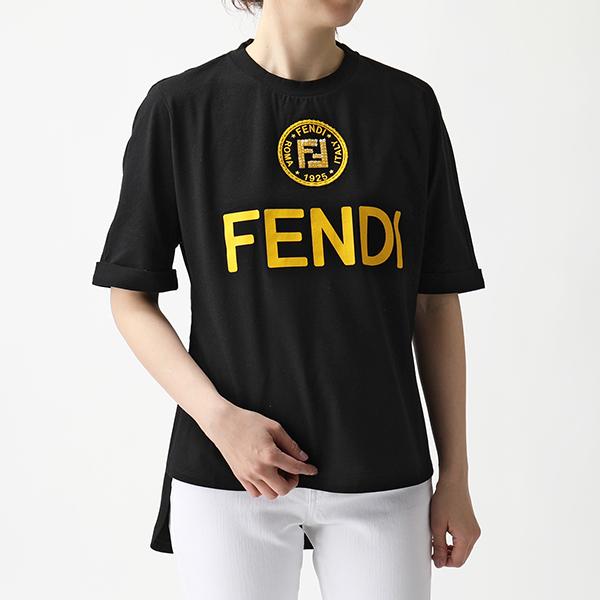 FENDI フェンディ FS7045 A43A F143Y クリアビジュー装飾 半袖 Tシャツ クルーネック カットソー BLACK+ZABAIONE レディース