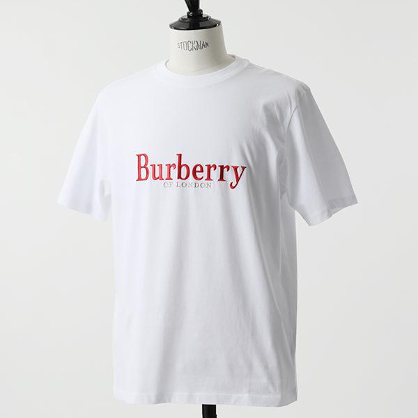 BURBERRY バーバリー 8006788 エンブロイダリー アーカイブロゴ コットン 半袖 Tシャツ A1464/ホワイト レッド レディース