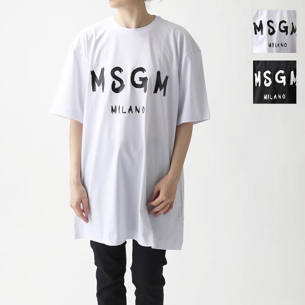 MSGM エムエスジーエム MDA168 DRESS ペイントロゴ オーバーサイズ Tシャツ チュニック ワンピース カラー2色 レディース