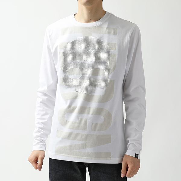HYDROGEN ハイドロゲン 240627 STUDS HYDRGN SKULL TEE LS スカルスタッズ クルーネック 長袖Tシャツ カットソー 001-WHITE メンズ