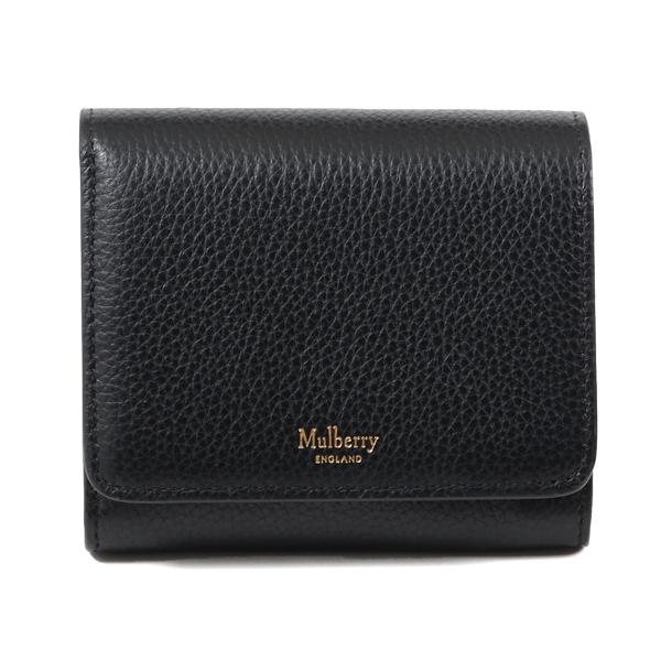 Mulberry マルベリー RL5075 205 A100 レザー 二つ折り ミディアム財布 スモール財布 Black レディース