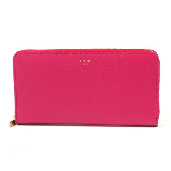 CELINE セリーヌ 10B553BEL.24PI Large Zipped Wallet レザー ラウンドファスナー長財布 Pink レディース