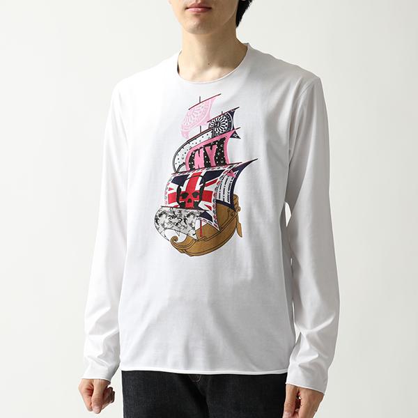 lucien pellat-finet ルシアンペラフィネ EVU2105 クルーネック 長袖Tシャツ ロンT ロング カットソー メローロック WHITE メンズ