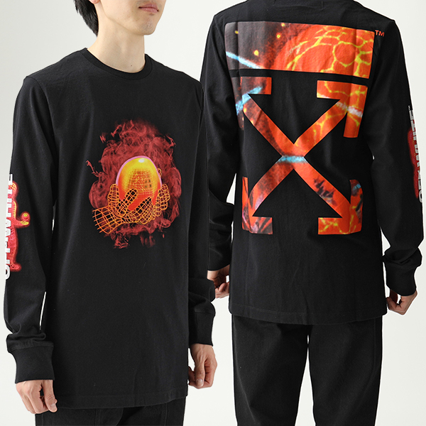 OFF-WHITE オフホワイト VIRGIL ABLOH OMAB001S19185016 1088 HANDS AND PLANET L/S 長袖Tシャツ ロンT ロング カットソー メンズ