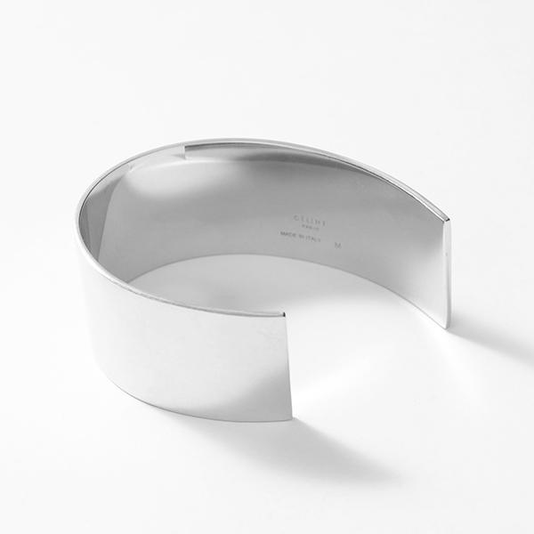 【1,000円OFFクーポン対象!4月1日限定】CELINE セリーヌ 46G816BR1.36SI ThIn Cuff シン フラット ブレスレット ブラス バングル Silver #oldceline