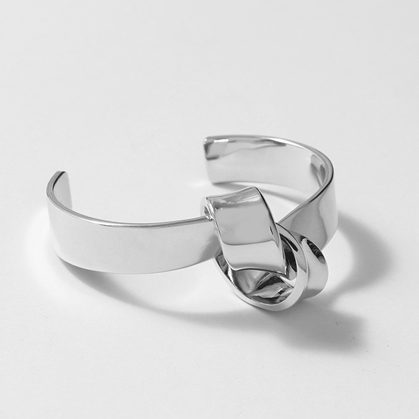 CELINE セリーヌ 46I606BRA.36SI Flat Bracelet Knot ノット フラット ブレスレット ブラス バングル Silver #oldceline