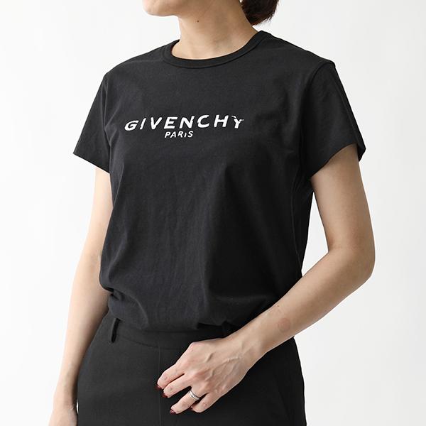 GIVENCHY ジバンシィ BW705Z3Z0Y 001 クルーネック 半袖 Tシャツ ロゴ プリント カットソー BLACK レディース