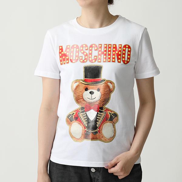 エントリーでポイント3倍対象 24日23時59まで LOVE MOSCHINO ラブモスキーノ V0708 0540 テディベア×ロゴ クルーネック 半袖 Tシャツ カットソー ラメ 3001 レディースbgf6yvY7