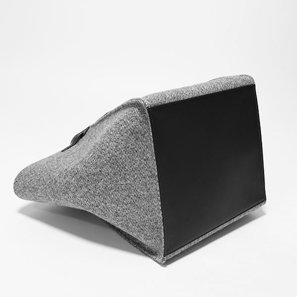 CELINE セリーヌ 182862B5Z.10DC Medium Big Bag Woolen ウール×レザー ビッグ トートバッグ Grey レディース #oldceline