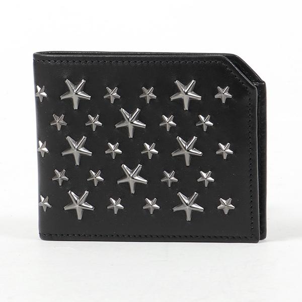 JIMMY CHOO ジミーチュウ ALBANY BLS レザー 二つ折り財布 小銭入れあり スタースタッズ装飾 BLACK/GUNMETAL メンズ