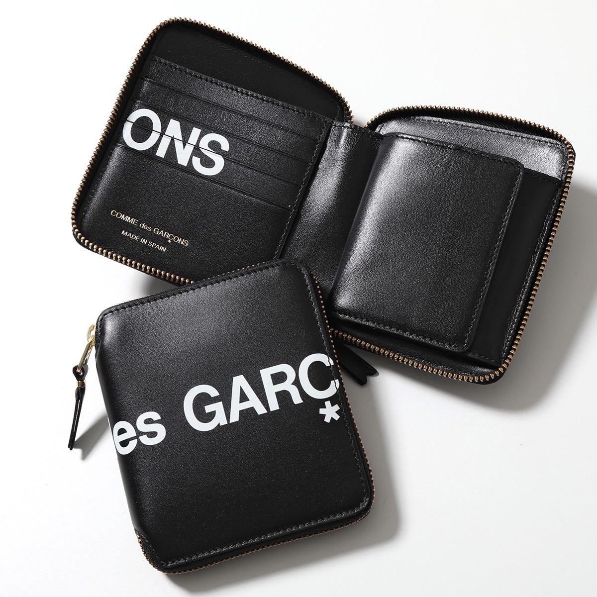 COMME des GARCONS コムデギャルソン SA2100HL HUGE LOGO レザー 二つ折り財布 ミディアム スモール財布 BLACK メンズ