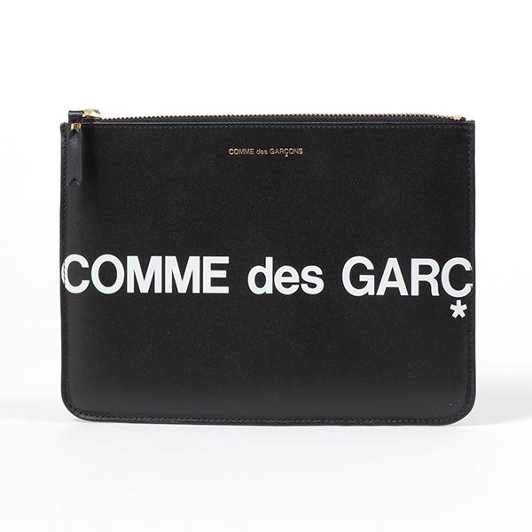COMME des GARCONS コムデギャルソン SA5100HL HUGE LOGO レザー フラットポーチ クラッチバッグ BLACK 鞄 メンズ