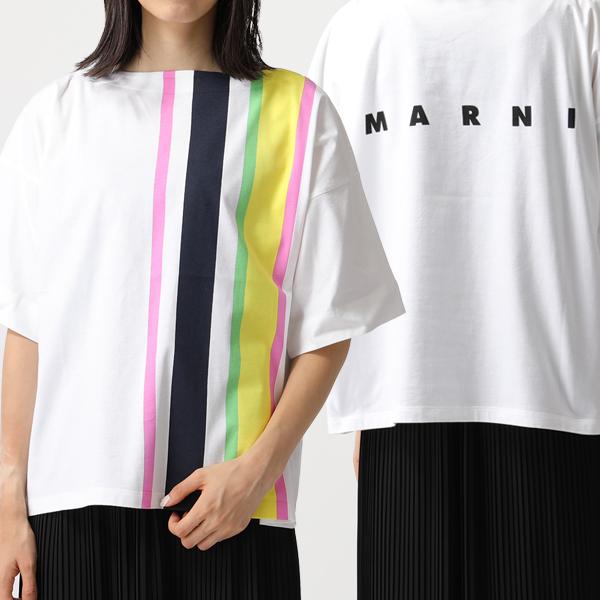 MARNI マルニ THJE0012PC SCQ21 GLOSSY JERSEY ボートネック 五分袖 Tシャツ カットソー ストライプ×ロゴ STV35/MILLET レディース