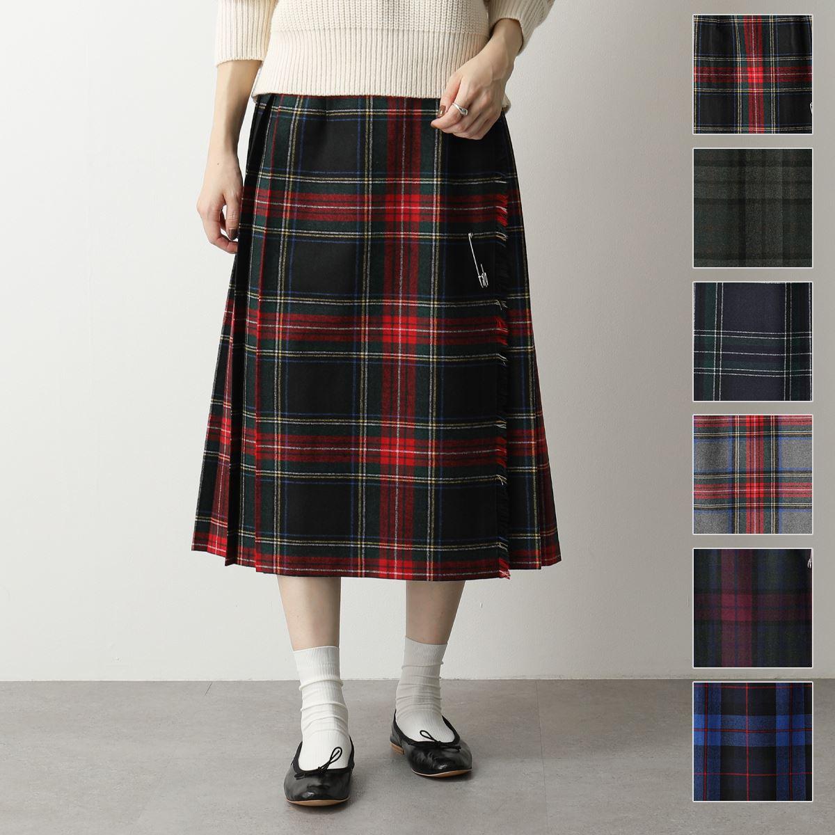 ONEIL OF DUBLIN オニールオブダブリン 73cm ウール×ポリエステル チェック柄 ミモレ丈 スカート シングルベルト Wバックル カラー5色 レディース