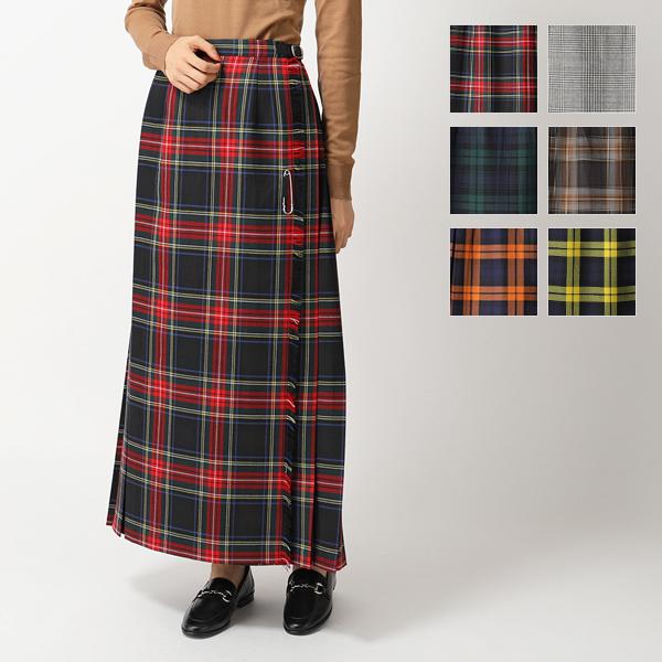 ONEIL of DUBLIN オニールオブダブリン 93cm ウール チェック柄 ロング丈 スカート シングルベルト Wバックル カラー5色 レディース