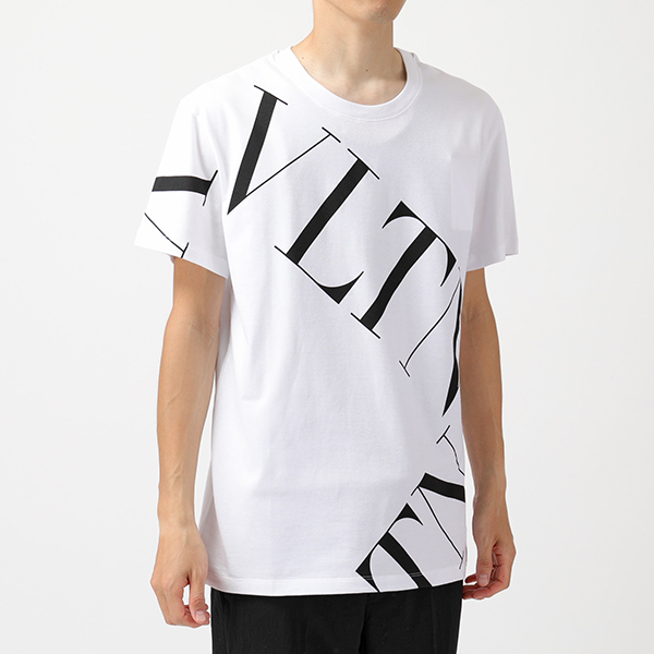 VALENTINO ヴァレンティノ SV3 MG02P 5FV VLTN クルーネック 半袖 Tシャツ カットソー ロゴ A01/ホワイト メンズ
