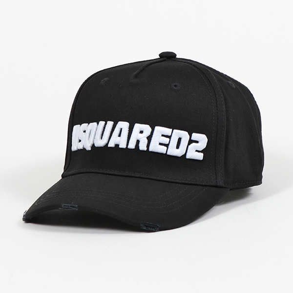 DSQUARED2 ディースクエアード BCM0222 05C00001 立体ロゴ刺繍 ベースボール キャップ 帽子 ダメージ加工 M063 メンズ