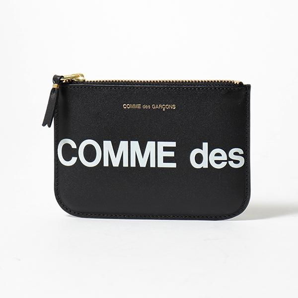 COMME des GARCONS コムデギャルソン SA8100HL HUGE LOGO レザー フラット ミニポーチ コインケース BLACK メンズ
