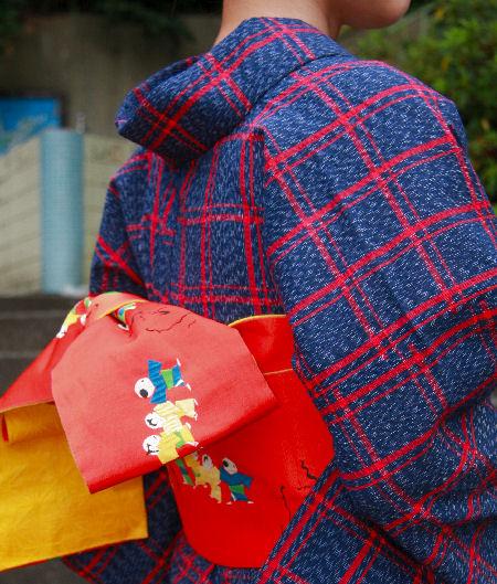 【送料無料】阿波しじら織木綿きもの[112]単衣仕立て 阿波正藍しじら織伝統工芸品