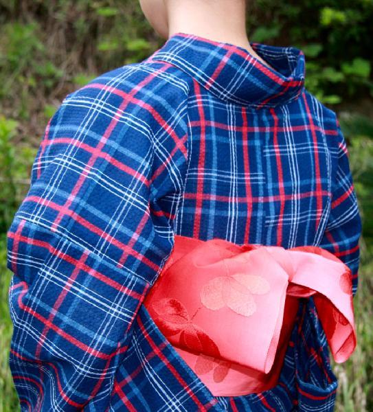 【送料無料】阿波しじら織木綿きもの[088]単衣仕立て 阿波正藍しじら織伝統工芸品