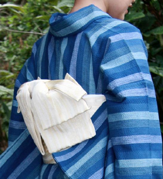 【送料無料】阿波しじら織木綿きもの[115]単衣仕立て 阿波正藍しじら織伝統工芸品