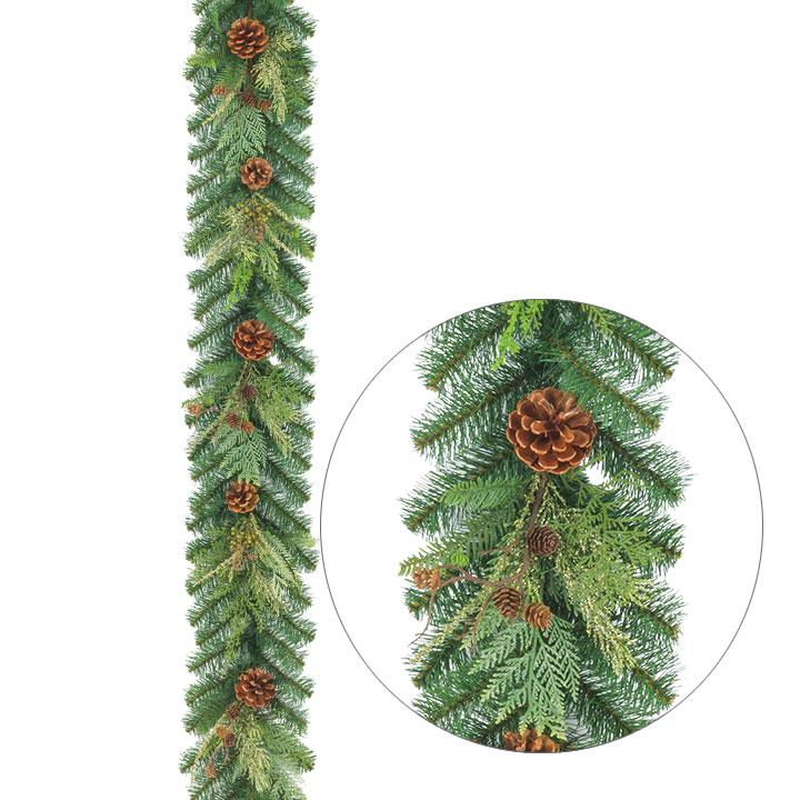 ナチュラルルックコーンガーランド(クリスマスツリー・ディスプレイ・イルミネーション・LED・モチーフ・オーナメント・デコレーション・サンタ・クリスマス)