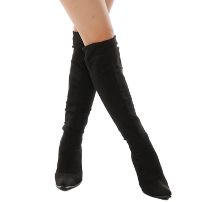 靴下ブーツ ソックスブーツ ソックスニーハイブーツ 価格 靴下 美脚 スエード調 ストレッチ 正規激安 ニーハイ ヒール かわいい 激安 履きやすい