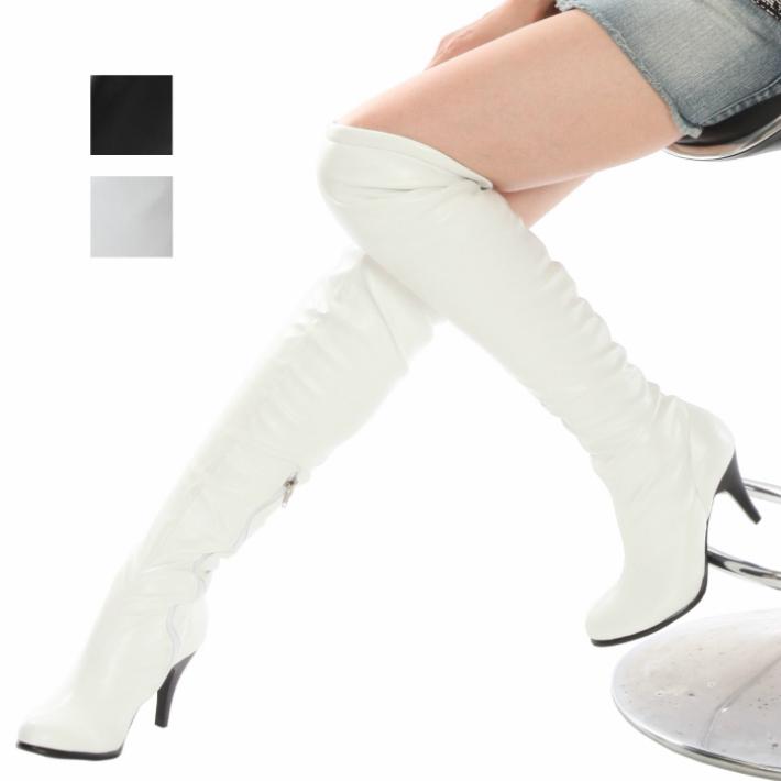超人気 細身ストレッチ ギフト 美脚ニーハイ 白色 数量限定 ラウンドトゥー レディースブーツ