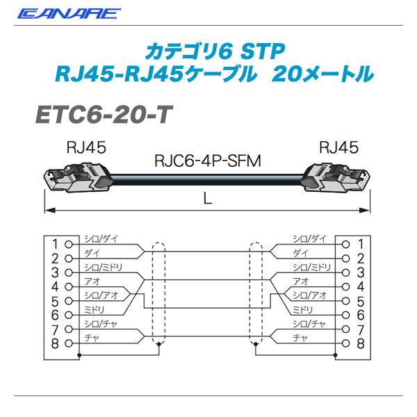 CANARE(カナレ)RJ45ケーブル『ETC6-20-T』【代引き手数料無料♪】