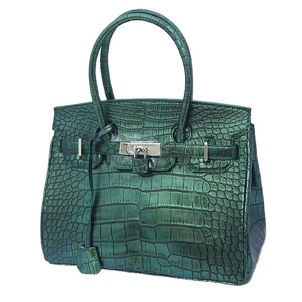 【新品】 ヘンローン クロコ サイズ35 YB-2103 グリーン ハンドバッグ 【H】
