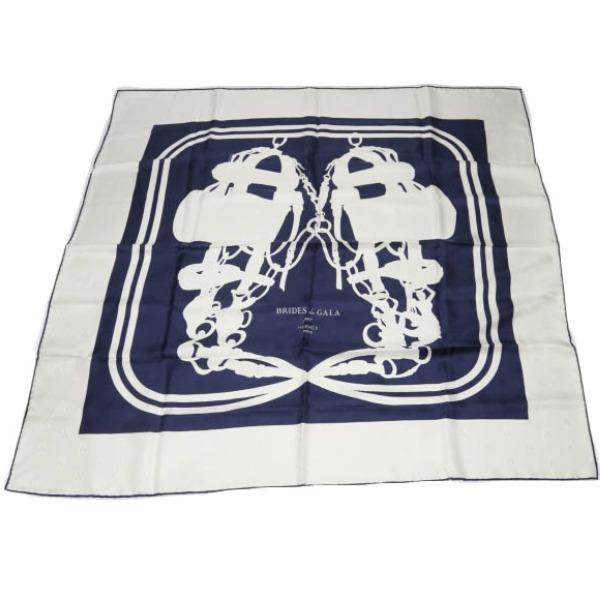 カレ90 式典用の馬靭 カレ90 エルメス ネイビー×ホワイト スカーフ HERMES 【SS】 【中古】