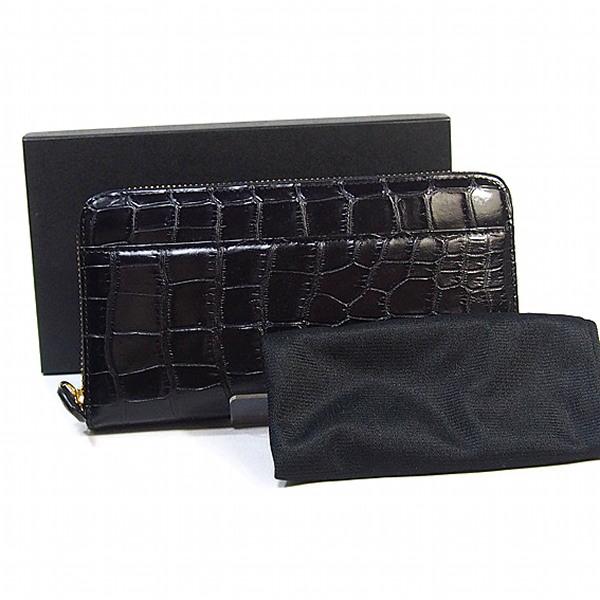 【新品】 ラウンドファスナー 両サイド外ポケット付き 0621 クロコダイル ブラック 長財布 CROCODILE 【SS】
