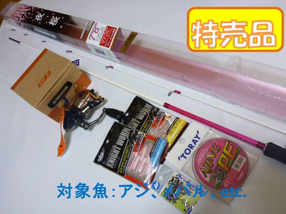 PROX 夜桜 ルアーロッド/バルトム SP-X 20Cリール/アジングPE0.5号/ナイトワーム/アジ鈎ベース