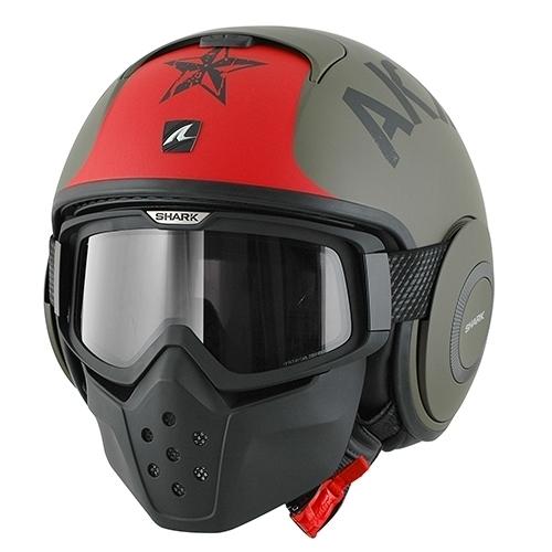SHARKバイク ヘルメット DRAKドラク ソユーズ マット(ツヤ消し) グリーン/レッド