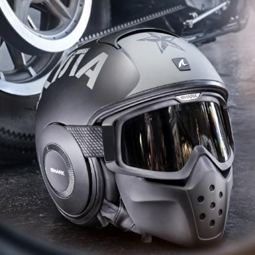 【SHARK】バイク ヘルメット DRAKドラク ソユーズ マット(ツヤ消し) ブラック/シルバー