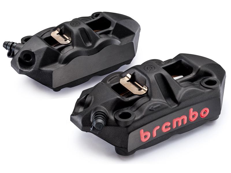 【バイク キャリパー】Brembo ブレンボラジアルマウントモノブロックキャリパー 左右セット キャストボディー 34/34アルミピストンモデル 100mmピッチ ブラックボディ