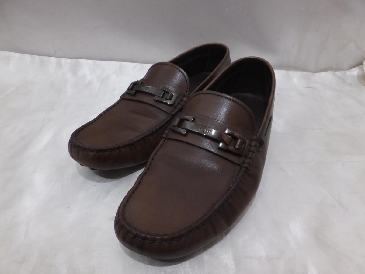 TOD'S トッズ ドライビングシューズ ピットローファー 革靴 レザーシューズ イタリア製 サイズ7 1/2A 25.5~26cm程度 細め ブラウン系【中古】