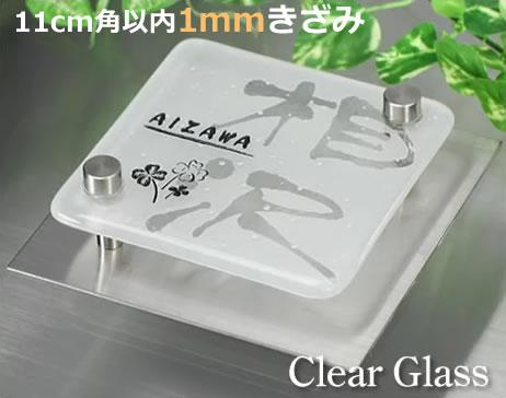 11cm角以内フリーサイズ透明ガラス表札gffsf-11-free【ガラスサイズ110mm角以内】【ステンレスプレート130mm角以内】ダントツ!ガラス文字