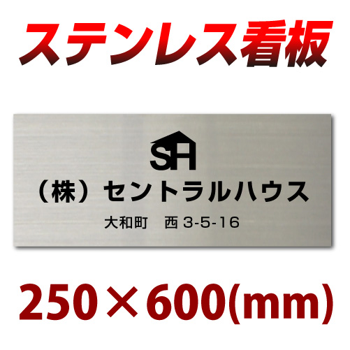 ステンレス看板 黒文字限定 stt600250 ステンレス表札 デザイン看板製作 会社や事務所におすすめ 25cm×60cm 社名ロゴ対応