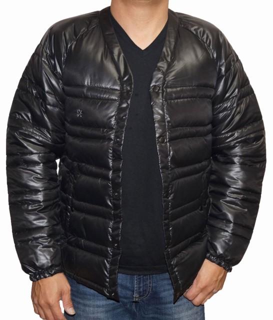 アールニューボールド R.NEWBOLD 中綿 ジャケット 襟なし 黒 メンズ ノーカラー ブラック 冬物 ライオンマーク