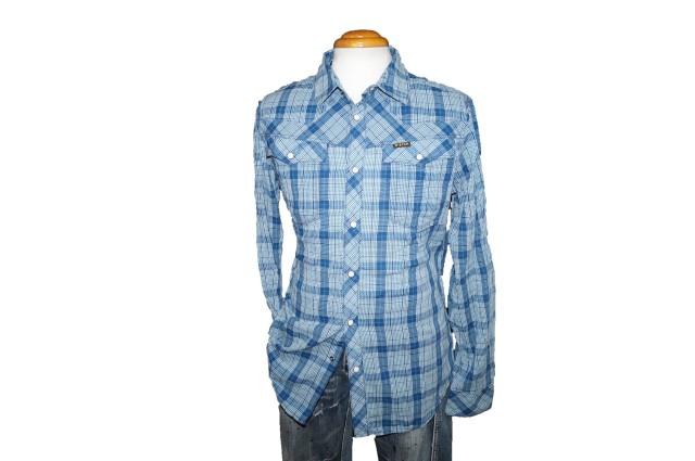 ◆新品 ジースターロウ ウエスタンシャツ チェック青 M h110724
