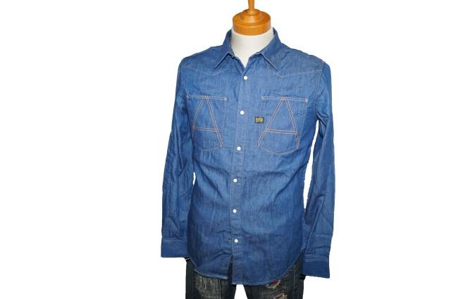 ◆新品 ジースターロウ 長袖シャツ デニムシャツ M■i060428