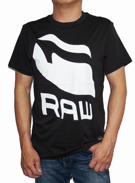 ジースターロウ G-STAR RAW 半袖Tシャツ 黒 D02907 メンズ RAW 夏物 ブラック ロゴ ジースターロゥ