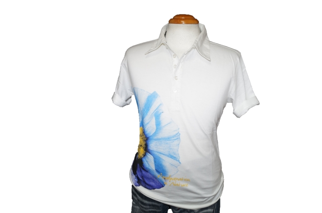 ◆新品 ハムネット 半袖ポロシャツ 花柄 青 ■ HAMNETT