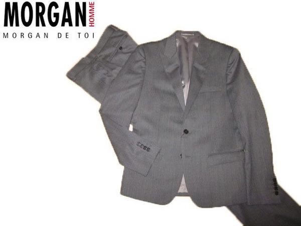 ◆新品 モルガン シングルスーツ 2bサイズL ピンスト■f022315