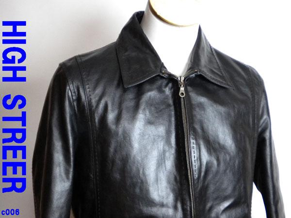 美品 ◆ ハイストリート ジャケット 牛革製 黒 M ◆c006