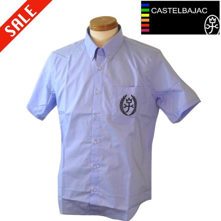 カステルバジャック 胸ロゴ半袖シャツ 夏物 48/Lサイズ ライトブルー