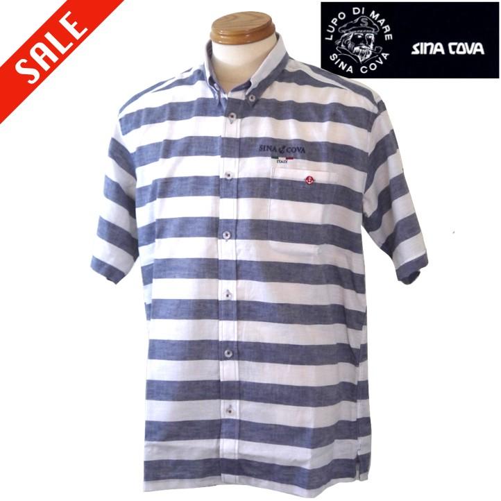 春夏SALE メンズ半袖シャツ シナコバ サルジニア ボーダー半袖シャツ 夏物 SINA お中元 Sardegna LLサイズ COVA ブルー系 格安 価格でご提供いたします