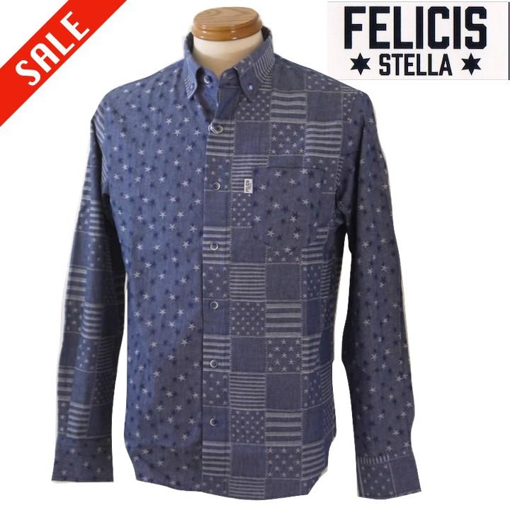 返品不可 SALE フェリス 選択 ステラ ジャガードデニムシャツ ネイビー 48 LLサイズ 50 L STELLA FELICIS