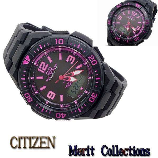 おススメ! シチズン CITIZEN キューアンドキュー Q&Q クオーツ メンズ アナデジ 腕時計 MD06-325 ソーラー電波機能 ピンク×ブラック(文字盤)、ブラック(ベルト) シチズン腕時計 男性用 メンズ 国内品